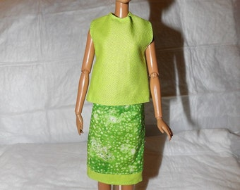 Modest lime green sparkle print skirt & lime green top for Fashion Dolls - ed911