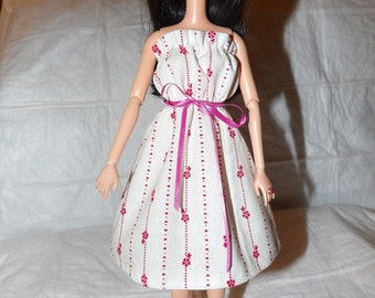 Ruffled sun dress in pink & white for Fashion Dolls - ed889
