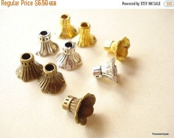 50% OFF Moving Sale - 50 Bead Caps Antiqued Silver Tone 12x9mm S195s