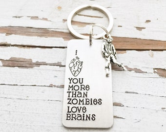 I Love You More Than Zombies Love Brains Keychain Anatomical Heart Design Hand Stamped Key Chain Key Ring walker charm