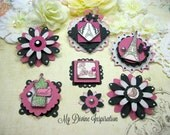 Carta Bella Paris Girl Pink Paper Embellishments and Paper Flowers for Scrapbook Layouts, Cards, Mini Albums and Paper crafts