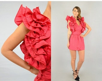 WINTER SALE 80's Cranberry Origami Dress
