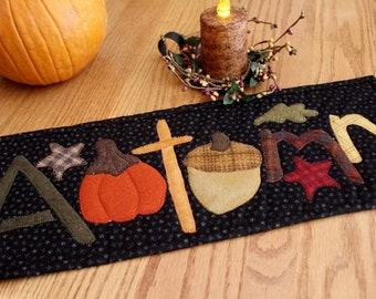 Mini Quilt / Wool and Cotton Table Runner / Autumn / 8.5 x 18.5 / MW