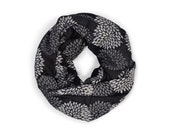 INFINITY SCARF - Screen Printed - Gray Flowers on Black