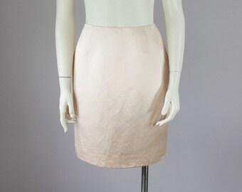 """90s Vintage Oscar de La Renta Glossy Silk Linen High-Waist Skirt (S; 26"""" Waist)"""