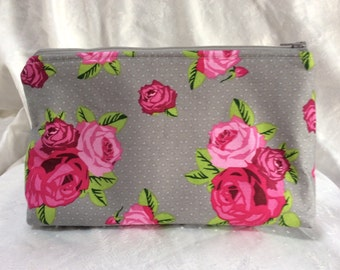 Rose Print Makeup Cosmetic Bag