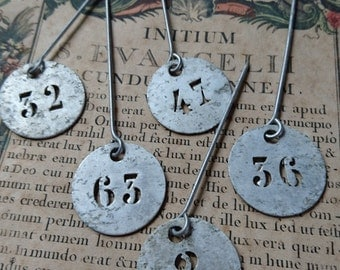5 Gorgeous antique French zinc apple orchard basket number tags jetons c1900 BELLE BROCANTE