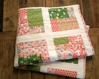 Ready to Ship! Modern Baby Girl Quilt. Pink Floral Nursery Toddler Quilt. Andover & Riley Blake Fabrics w/ Minky. Flowers