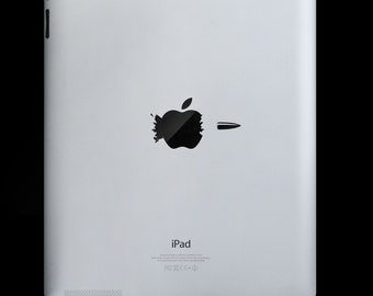 Bullet through Apple - Ipad Decal Vinyl Sticker for Ipad and Ipad 2