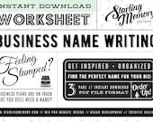 DIY BUSINESS NAMING Worksheet - Business Name Brainstorming - Brand Development Worksheet - Brainstorming Worksheet - Business Planning
