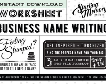 DIY BUSINESS NAMING Worksheet - Business Name Brainstorming - Brand Development Worksheet - Brainstorming Worksheet - Business Planning