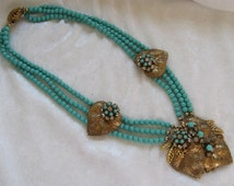 Beautiful Necklace and Earrings Made with Miriam Haskell Beads and Findings