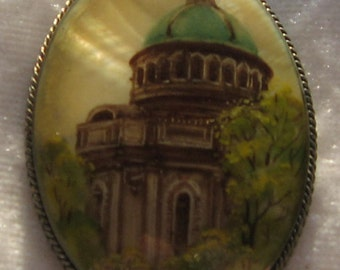Antique Russian Hand-painted Brooch