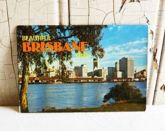 Vintage Brisbane, Queensland, Australia Souvenir Postcard Folder - King George Square, Gabba Cricket Ground, Victoria Bridge - 1970s