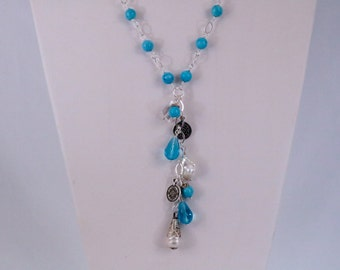 Necklace w/ silver plate chain, turquoise, freshwater pearls, crystals. NNSP-TUR