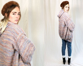 Vintage Vtg Vg 1980's 80's FURRY Pastel Colored Hooded Winter Coat Women's Medium by Nancy Miller Hipster Retro Bohemian Jacket Mohair