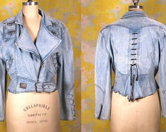 Vintage Vtg Vg 1980's 80's Morgan Wear Bedazzled Light Blue Denim Jacket Jean Jacket Women's Hipster Hip Hop Western Motorcycle Jacket Med