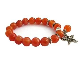 Tibetan Buddhist Red Agate Prayer Beads Wrist Mala Bracelet For Meditation  T3320