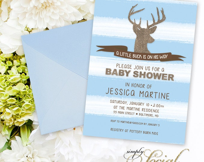 Deer Baby Shower Invitation - A Little Buck is on the Way Blue Stripes and Burlap Hunting Baby Shower Invitation PRINTABLE Rustic