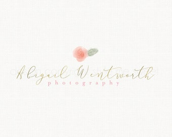 rose logo design flower logo design photography logo florist logo event planner logo peony logo watercolor logo gold logo design watermark
