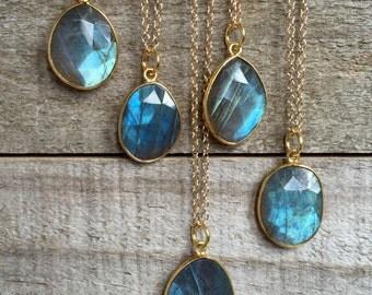 Labradorite Necklace, Blue Labradorite Pendant, Drop Necklace, Gemstone Necklace, Minimalist Jewelry, Gold Necklace, Bezel Set Necklace