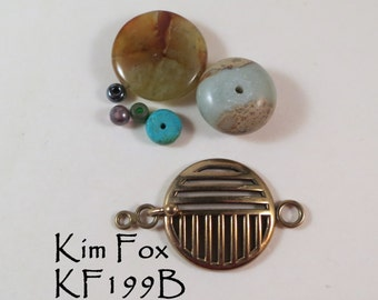 Round Deco Style Hook and Eye Clasp by Kim Fox in Golden Bronze
