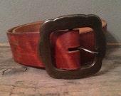 40% OFF Vintage 1970s Brown Leather Floral Tooled Belt S/M 32