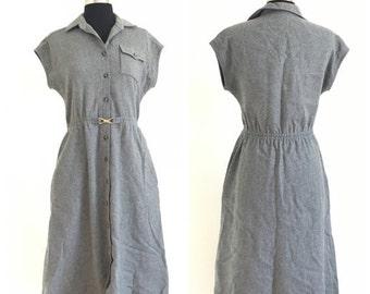60% OFF Vintage 1970s Wool Blend Gray Buton Down Shirt Dress California Girl S (F)
