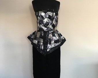 70% OFF Vintage 1980s Black Strapless Sequin Designer Victor Costa Cocktail Formal Prom Dress S/M (D)