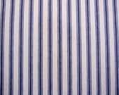 decorator fabric, blue and off white woven cotton ticking 1 yard