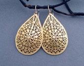Large Gold Filigree Earrings Gold Teardrop Dangle Earrings with 12k Gold Filled Ear Wires Handmade Arabesque Marrakech Moroccan Jewelry