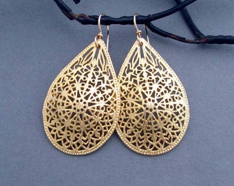 Large Gold Filigree Earrings Gold Teardrop Dangle Earrings with 12k Gold Filled Ear Wires Handmade Arabesque Marrakech Moroccan Jewelry