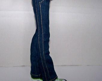 Handmade Monster High doll clothes - dark blue denim jeans for Monster High boys
