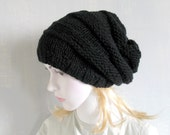 Women Hat-Womens slouchy - beanie hat - Slouch Beanie - Large hat - Knit Winter Fall Accessories Knit Cable hat Hand Knit Hat Women Knit Hat