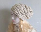 Oatmeal Hat Slouchy Beanie Knit Hat OATMEAL Women Slouchy Beanie Felt Slouchy Hat Women Knit Hat Hand knit hat