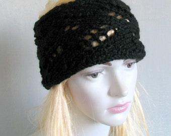 Lace knit headband, knitted headband headband hand knit headband bohemian headband black headband wide headband gothic headband goth