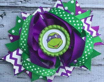 Girls Layered Ninja Turtle Donatello Hair Bow Donatello Hair Clip Ninja Turtle Hair Ninja Turtle Donatello Birthday Bow TNT Hair Bow