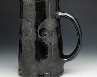 Skull Beer Stein, Blackout Skulls, Metallic Black Four Skulls Beer Mug