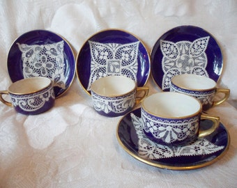 Antique 1800's Set of 4 Enameled Lace Cobalt Demi Cups & Saucers - Schiller and Gerbing