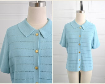 1960s Kimberly Blue Short Sleeve Cardigan