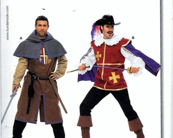 Burda 7976 Mens Musketeer Costume Pattern Renaissance Medieval Camelot Size 38, 40, 42, 44, 46, 48 and 50