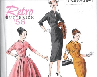 Butterick B5813 Retro 50s Fitted Vintage DRESS Sewing Pattern Full Or Slim Skirt UNCUT Size 6, 8, 10, 12, 14