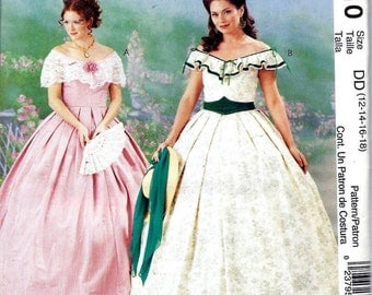 McCall's P310/3597 Costume Civil War Southern Belle Dress Pattern Size 12 14 16 18 UNCUT