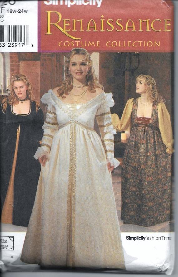 Simplicity 9228 Renaissance Wedding Gown Plus Size 18w 20w 22w