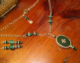 Divine Green JADE and STERLING Silver Repousse Pendant Necklace w/Jade, Silver, Crystal, Sterling Accents/Matching Pierced Earrings - OOAK