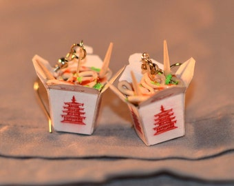 Chinese food chopstick take out container earrings. Polymer Clay.