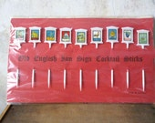 Old English Inn Sign cocktail sticks / man cave decor / drink bar alcohol party supply