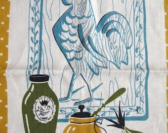 25%SALE Fritz and the rooster. Lovely vtg kitchen towel, nice midcentury graphics, great condition.