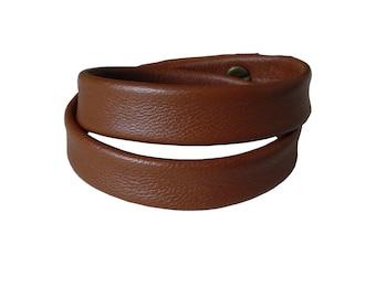 Double Wrap Leather Bangle Bracelet Cuff, burnt caramel leather, Layered Leather Cuff  Bracelet,  Men  Women, custom made
