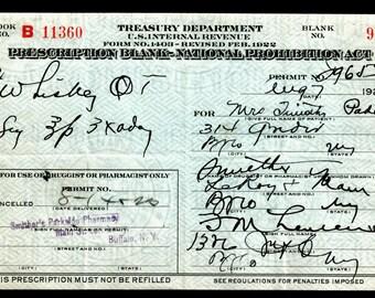 Antique 1923 Prohibition Whiskey Prescription Timothy Pharmacist Gift Doctor Lauren New York Pharmacy Bar Speakeasy Mad Men Bar Buffalo NY